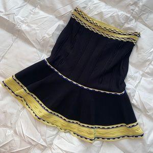 SANDRO A-Line Black & Yellow Stretch Mini Skirt